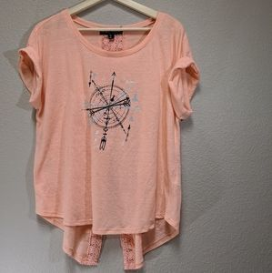 Almost Famous Lace Back Salmon Top XL